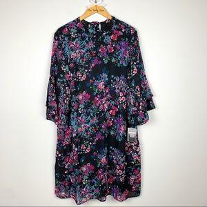 Sharagano | Pleated Bell Sleeve Shift Mini Dress